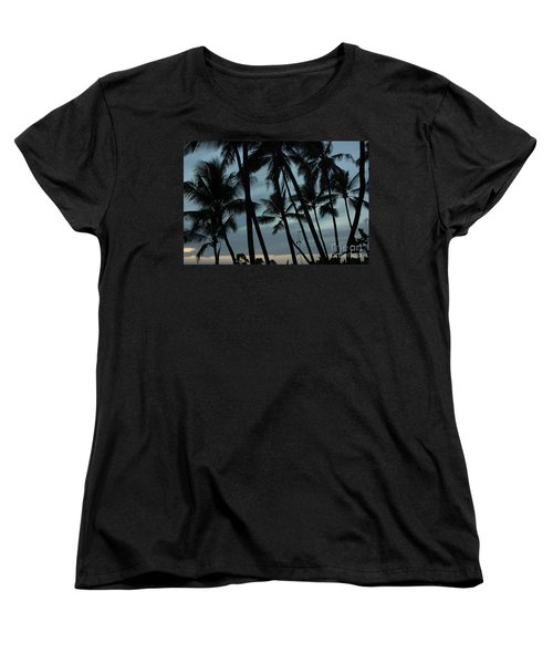 Women's T-Shirt (Standard Cut) featuring the photograph Palms At Dusk by Suzanne Luft