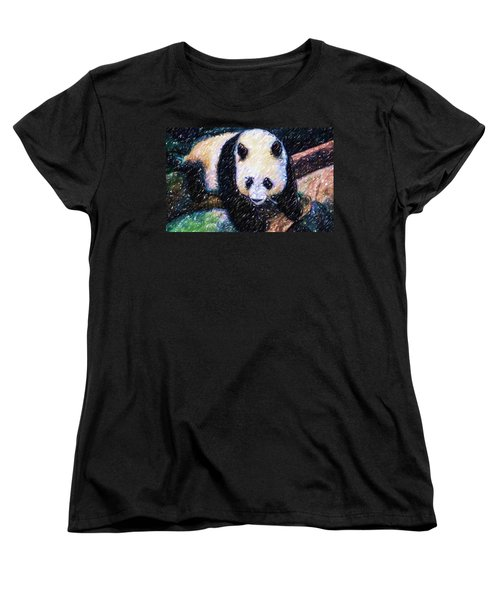 Women's T-Shirt (Standard Cut) featuring the painting Panda In The Rest by Lanjee Chee