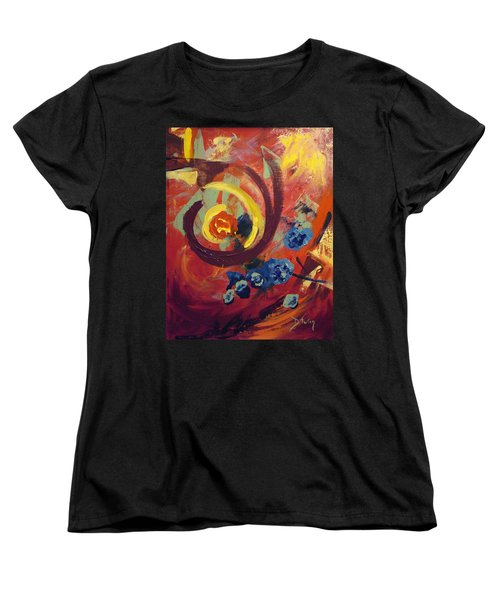 Women's T-Shirt (Standard Cut) featuring the painting Pansymania by Donna Tuten