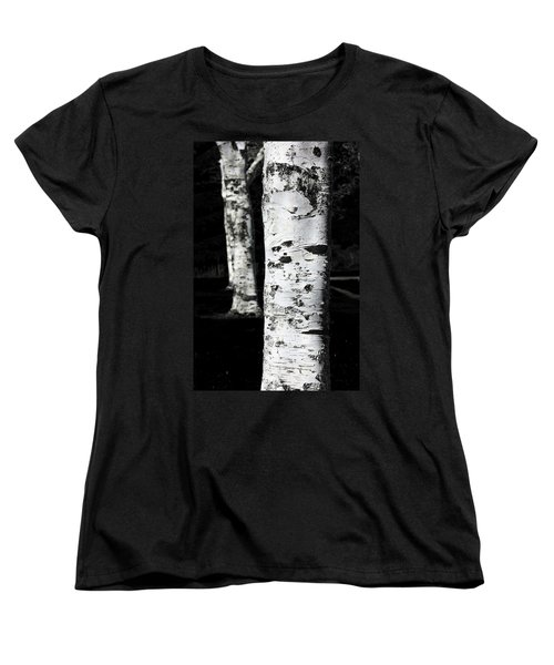 Black And White Women's T-Shirt (Standard Cut) featuring the photograph Paper Birch by Aaron Berg