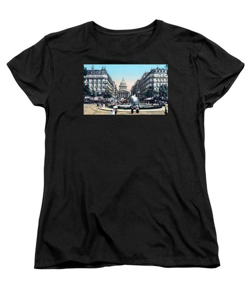 Paris 1910 Rue Soufflot And Pantheon Women's T-Shirt (Standard Cut) by Ira Shander