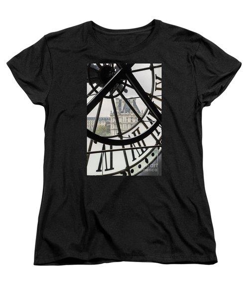 Paris Clock Women's T-Shirt (Standard Cut) by Brian Jannsen
