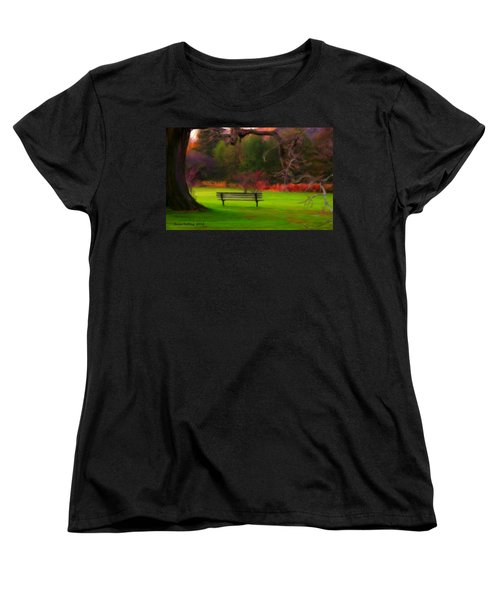 Women's T-Shirt (Standard Cut) featuring the painting Park Bench by Bruce Nutting