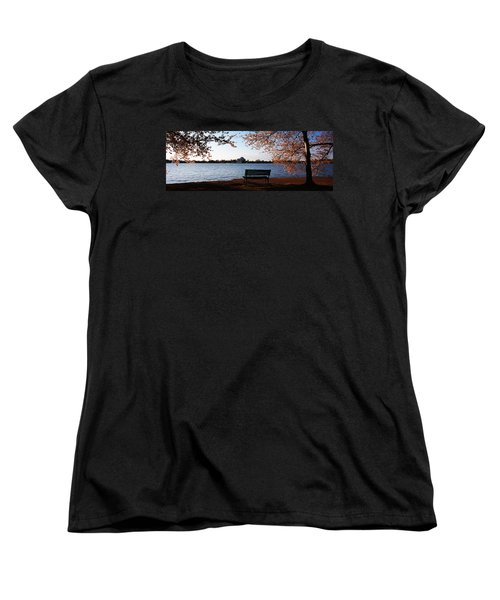 Park Bench With A Memorial Women's T-Shirt (Standard Cut) by Panoramic Images