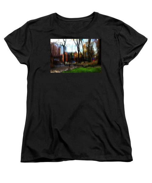 Women's T-Shirt (Standard Cut) featuring the mixed media Park Block I by Terence Morrissey