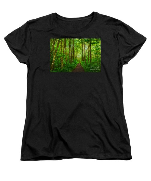 Path In Green Women's T-Shirt (Standard Cut) by Sonya Lang