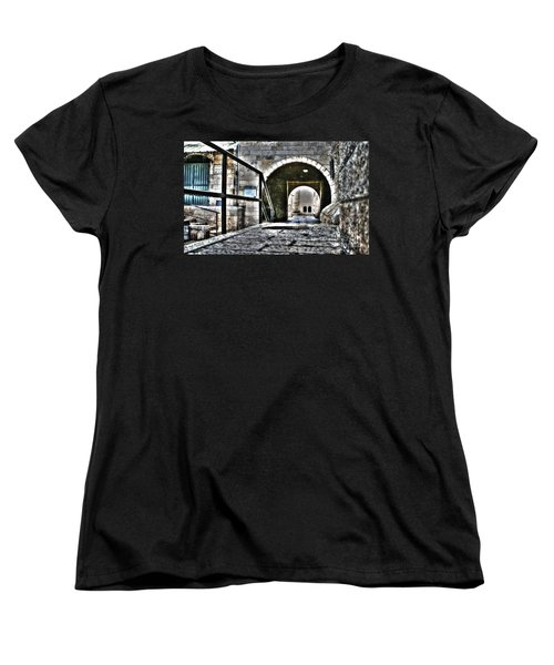 Women's T-Shirt (Standard Cut) featuring the photograph Pathway Through Old Jerusalem by Doc Braham