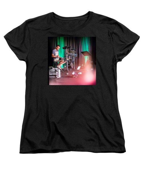 Paul Harvey, Drummer At Grace Women's T-Shirt (Standard Cut) by Aleck Cartwright