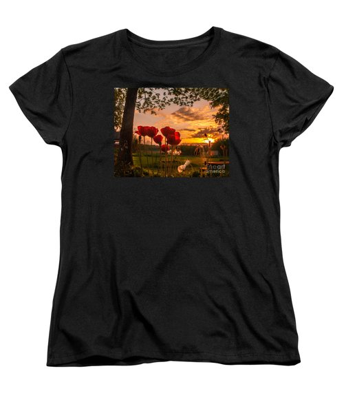 Peaceful Poppy Women's T-Shirt (Standard Cut) by Rose-Maries Pictures