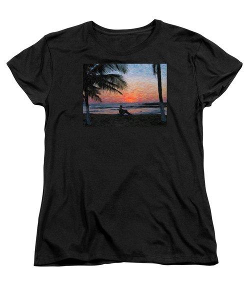 Peaceful Sunset Women's T-Shirt (Standard Cut) by David Gleeson