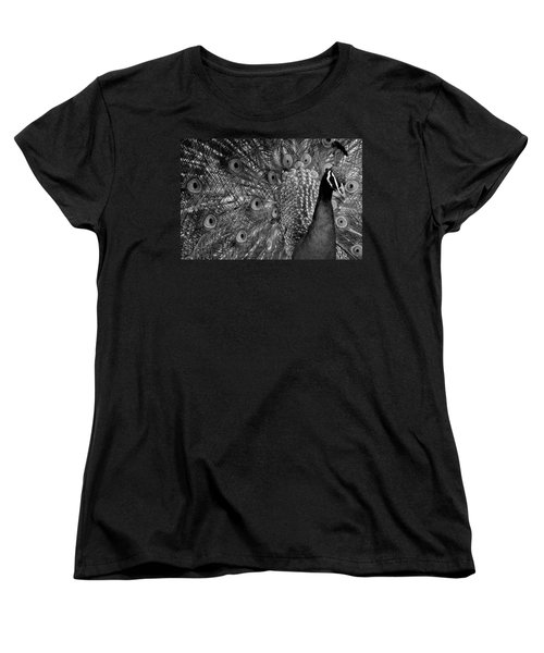 Women's T-Shirt (Standard Cut) featuring the photograph Peacock Bw by Ron White