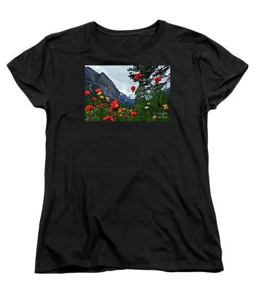 Women's T-Shirt (Standard Cut) featuring the photograph Peaks And Poppies by Linda Bianic
