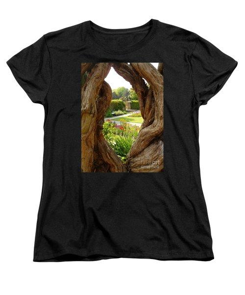 Women's T-Shirt (Standard Cut) featuring the photograph Peek At The Garden by Vicki Spindler