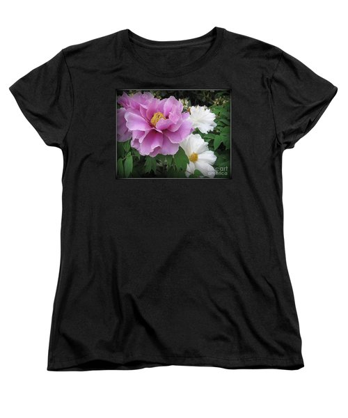 Peonies In White And Lavender Women's T-Shirt (Standard Cut) by Dora Sofia Caputo Photographic Art and Design