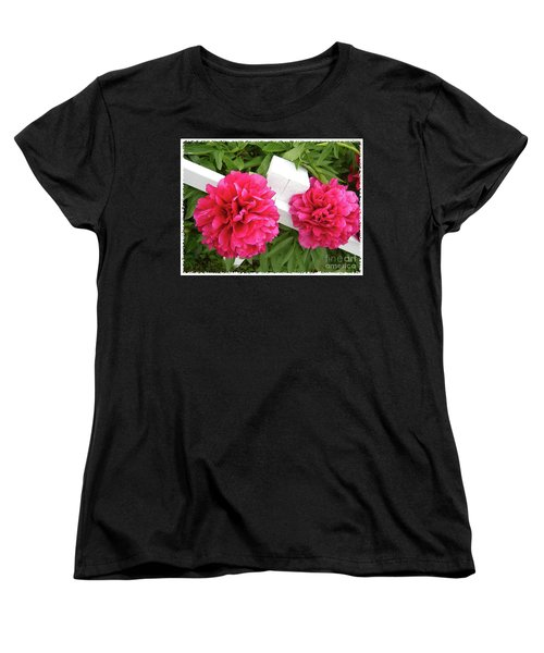 Peonies Resting On White Fence Women's T-Shirt (Standard Cut) by Barbara Griffin