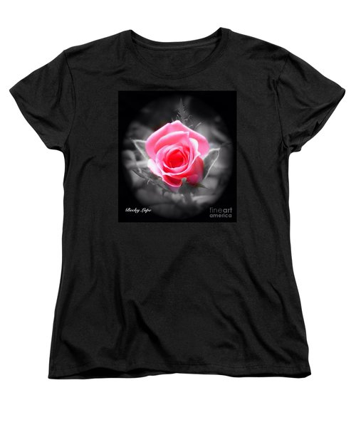 Perfect Rosebud In Black Women's T-Shirt (Standard Cut) by Becky Lupe
