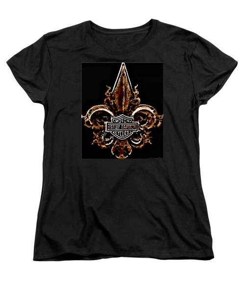 Women's T-Shirt (Standard Cut) featuring the photograph Perforated Brown Fleurs De Lys With Harley Davidson Logo  by Danielle  Parent