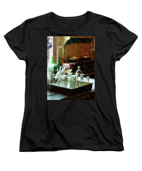 Women's T-Shirt (Standard Cut) featuring the photograph Pharmacy - Glass Funnels And Bottles by Susan Savad