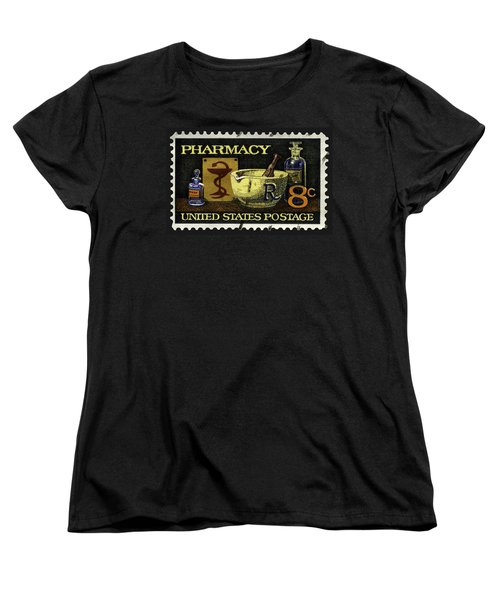 Pharmacy Stamp With Bowl Of Hygeia Women's T-Shirt (Standard Cut) by Phil Cardamone