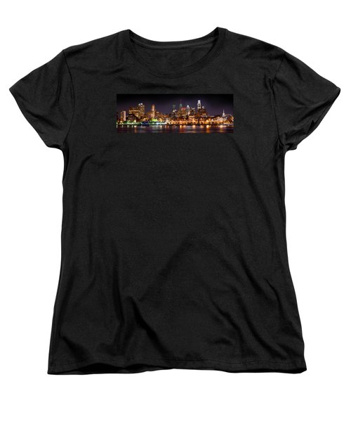 Philadelphia Philly Skyline At Night From East Color Women's T-Shirt (Standard Cut)