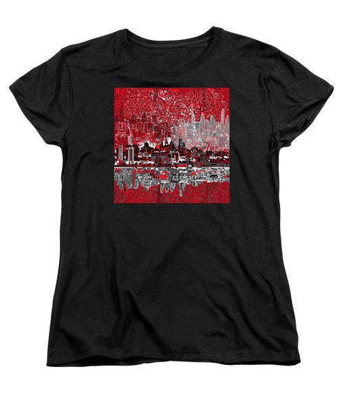 Philadelphia Skyline Abstract 4 Women's T-Shirt (Standard Cut) by Bekim Art