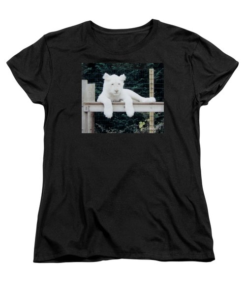 Women's T-Shirt (Standard Cut) featuring the photograph Philadelphia Zoo White Lion by Donna Brown