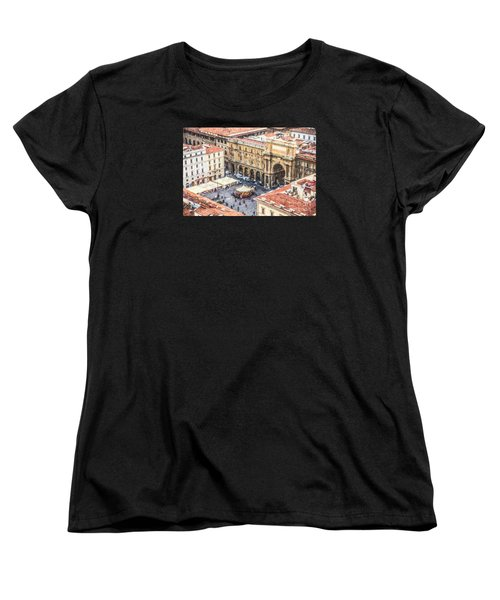 Piazza Della Repubblica Women's T-Shirt (Standard Cut) by Liz Leyden