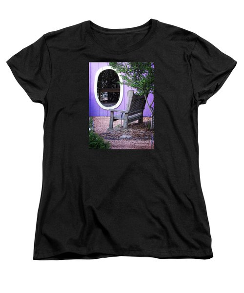 Women's T-Shirt (Standard Cut) featuring the photograph Picture Perfect Garden Bench by Ella Kaye Dickey