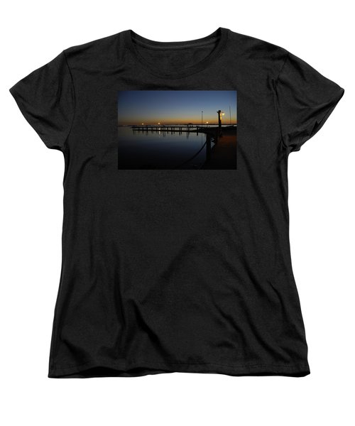 Women's T-Shirt (Standard Cut) featuring the photograph Pier At Chandlers Landing Rockwall Tx by Charles Beeler