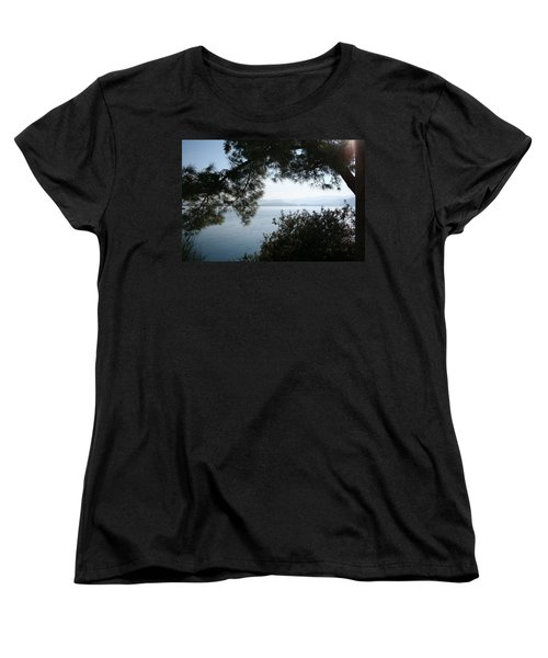Women's T-Shirt (Standard Cut) featuring the photograph Pine Trees Overhanging The Aegean Sea by Tracey Harrington-Simpson