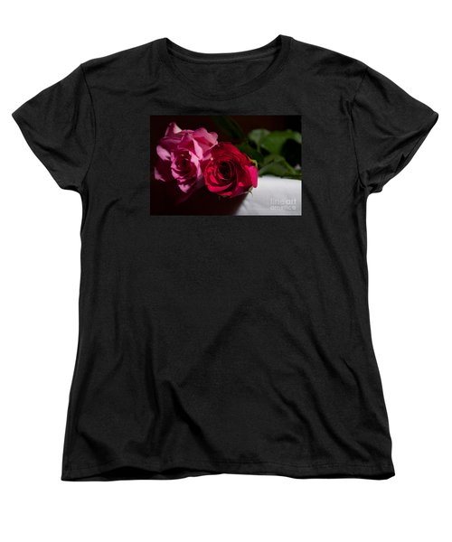 Women's T-Shirt (Standard Cut) featuring the photograph Pink And Red Rose by Matt Malloy