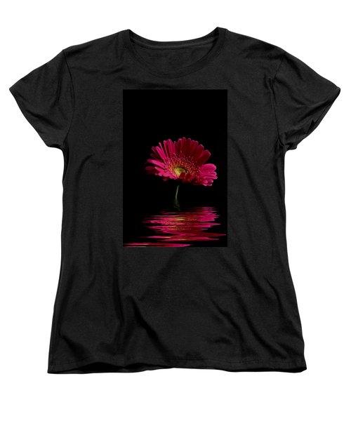 Pink Gerbera Flood 1 Women's T-Shirt (Standard Cut) by Steve Purnell