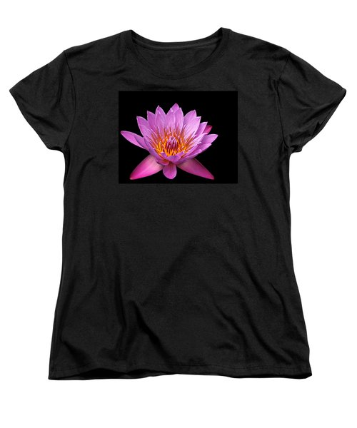 Women's T-Shirt (Standard Cut) featuring the photograph Pink Lady On Black by Judy Vincent
