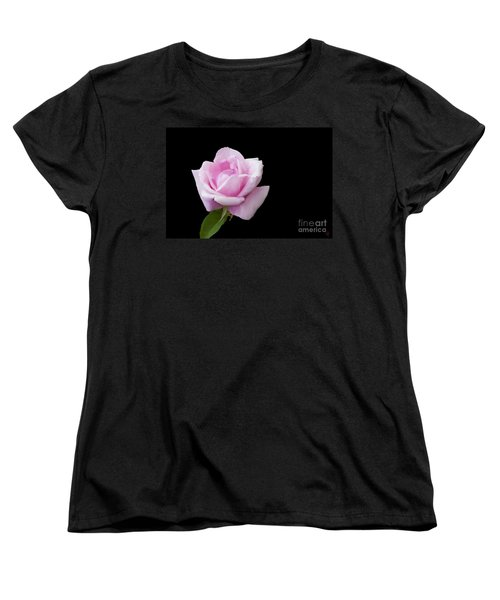 Women's T-Shirt (Standard Cut) featuring the digital art Pink Rose On Black by Victoria Harrington