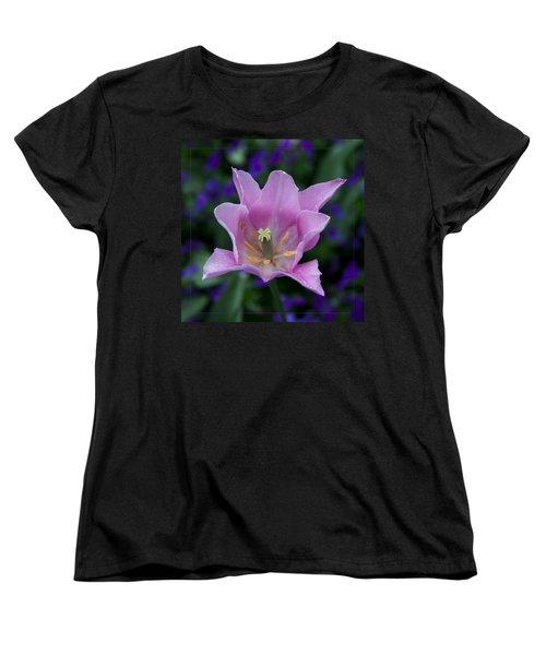 Pink Tulip Flower With A Spot Of Green Fine Art Floral Photography Print Women's T-Shirt (Standard Cut) by Jerry Cowart