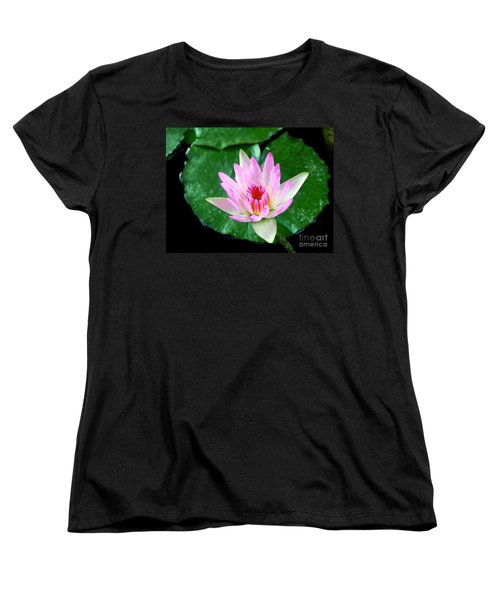 Women's T-Shirt (Standard Cut) featuring the photograph Pink Waterlily Flower by David Lawson
