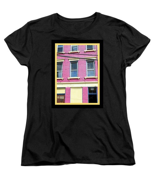Pink Yellow Blue Building Women's T-Shirt (Standard Cut) by Kathy Barney