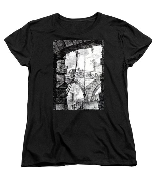 Plate 4 From The Carceri Series Women's T-Shirt (Standard Cut) by Giovanni Battista Piranesi