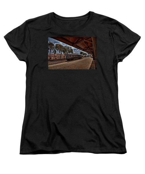 Women's T-Shirt (Standard Cut) featuring the photograph platform view of the first railway station of Tel Aviv by Ron Shoshani