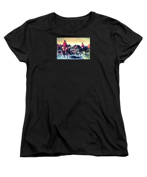 Plum Run Hunt Opening Day Women's T-Shirt (Standard Cut) by Angela Davies