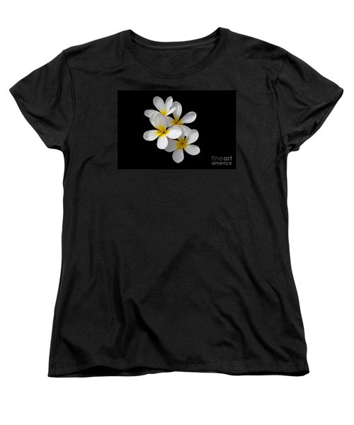 Women's T-Shirt (Standard Cut) featuring the photograph Plumerias Isolated On Black Background by David Millenheft