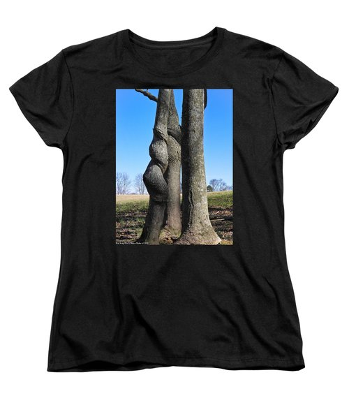 Women's T-Shirt (Standard Cut) featuring the photograph Poor Twisted Tree by Nick Kirby