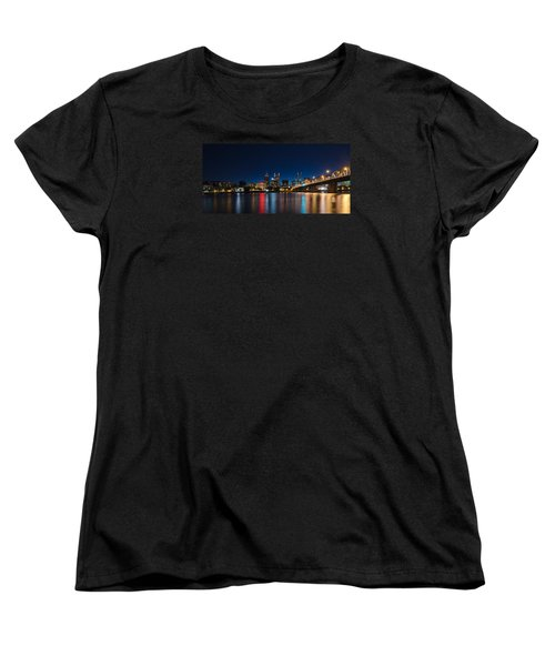 Portland Oregon Nightscape Women's T-Shirt (Standard Cut) by Don Schwartz