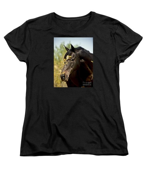 Portrait Of A Thoroughbred Women's T-Shirt (Standard Cut) by Kathy McClure
