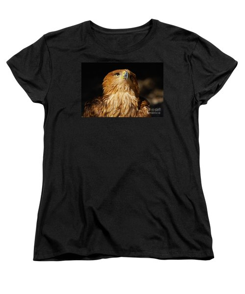 Portrait Of An Eastern Imperial Eagle Women's T-Shirt (Standard Cut) by Nick  Biemans