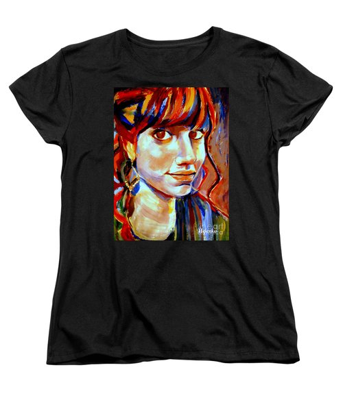 Women's T-Shirt (Standard Cut) featuring the painting Portrait Of Ivana by Helena Wierzbicki