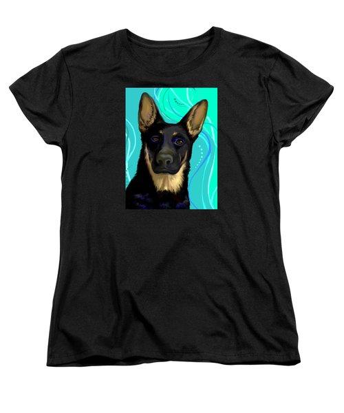 Portrait Of A German Shepherd Dog Women's T-Shirt (Standard Cut) by Karon Melillo DeVega