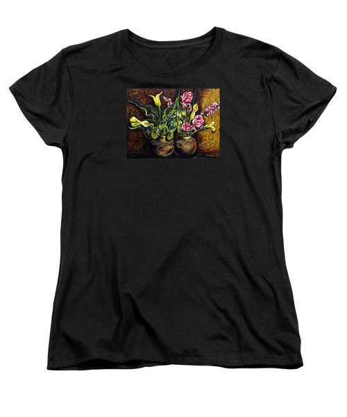 Women's T-Shirt (Standard Cut) featuring the painting Pots And Flowers by Harsh Malik