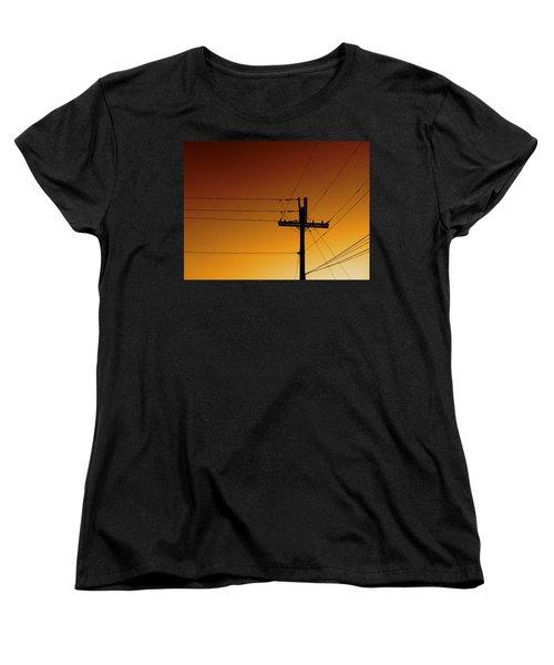 Power Line Sunset Women's T-Shirt (Standard Cut) by Don Spenner