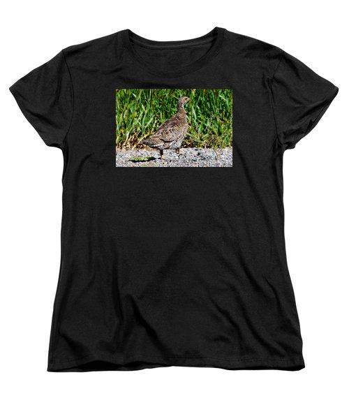 Women's T-Shirt (Standard Cut) featuring the photograph Prairie Chicken Run by Janice Rae Pariza